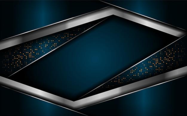 Роскошный темно-синий фон с серебряными линиями Premium векторы