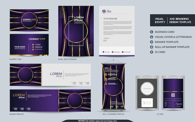 Роскошная фиолетовая канцелярская бумага макет набора и визуальной идентичности бренда с абстрактными перекрытия слоев фона. Premium векторы