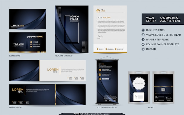 Роскошный темный темно-синий канцелярский набор и визуальная идентификация бренда с абстрактным фоном слоев наложения Premium векторы