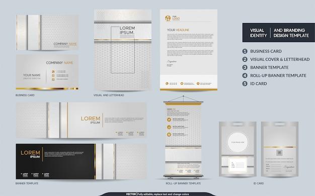 高級ホワイトゴールドの文房具セットと視覚的なブランドアイデンティティ Premiumベクター