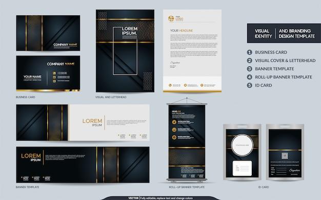 高級ブラックゴールドの文房具ブランドセットと抽象的なオーバーラップレイヤーを備えた視覚的なブランドアイデンティティ Premiumベクター