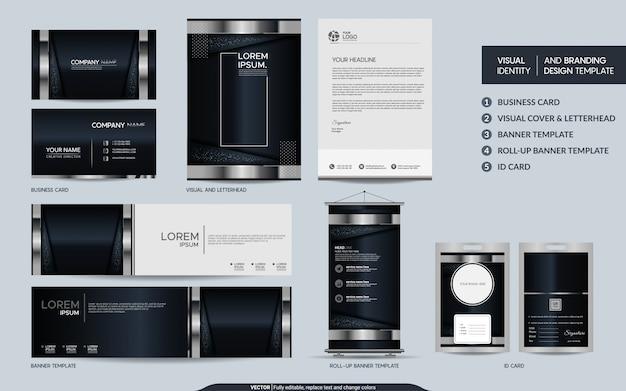 黒と銀の豪華な文房具セットと視覚的なブランドアイデンティティ Premiumベクター