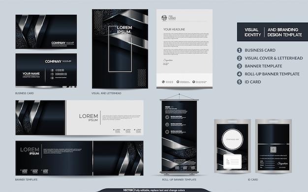 豪華な黒と銀の文房具セットと抽象的な重複レイヤーの背景を持つ視覚的なブランドアイデンティティ Premiumベクター