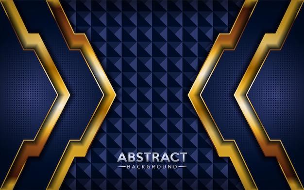 金色のラインとモダンな抽象的な暗いネイビーブルーの背景。 Premiumベクター