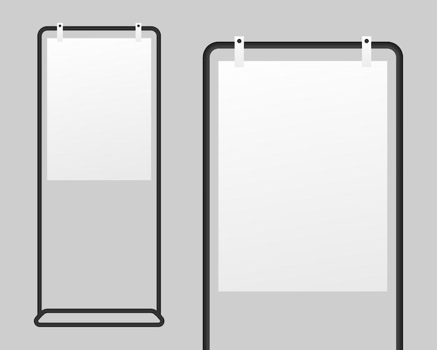Реалистичные вывески стенд с пустой белой бумаги. Premium векторы