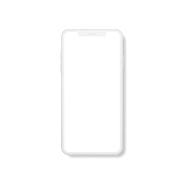 Реалистичный современный смартфон с пустым экраном. Premium векторы