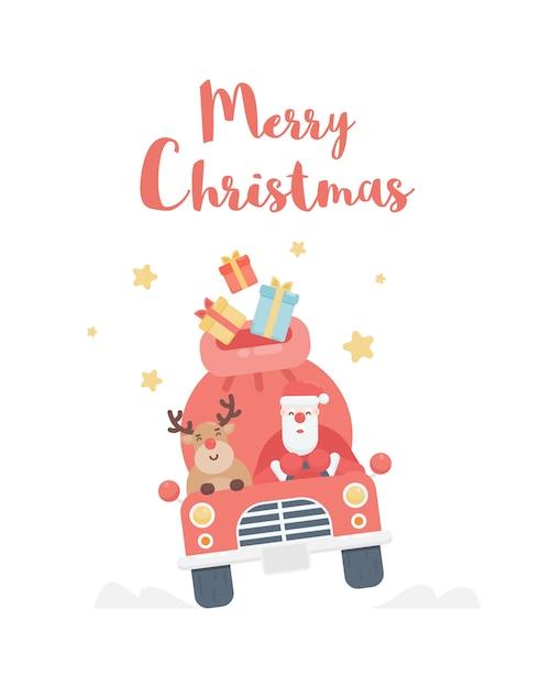 Санта-клаус с оленей за рулем автомобиля. рождественская открытка Premium векторы