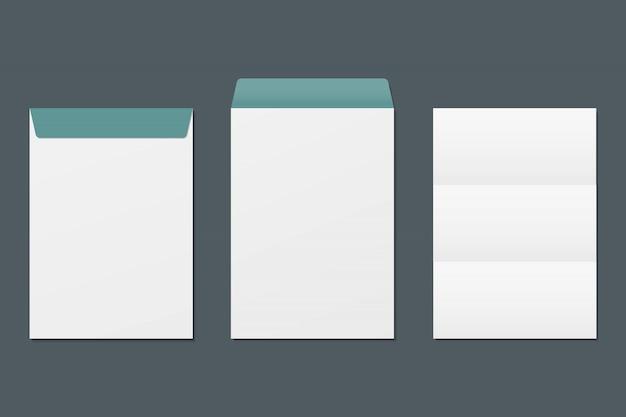現実的な前面と背面の封筒と白紙。モックアップテンプレート。ビジネスおよびブランドアイデンティティのテンプレート。 Premiumベクター