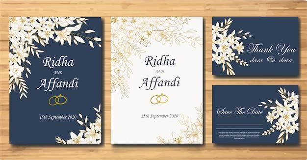 エレガントな手描きの花の結婚式の招待状カードのテンプレートセット Premiumベクター