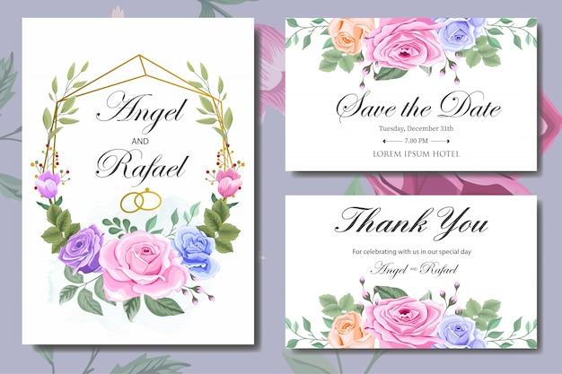 Свадебное приглашение с красивыми цветами и листьями Premium векторы