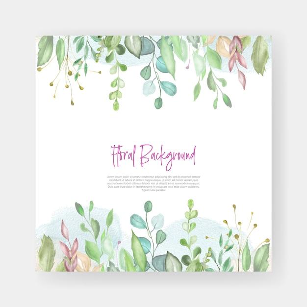 水彩花柄ウェディングカードのデザイン Premiumベクター