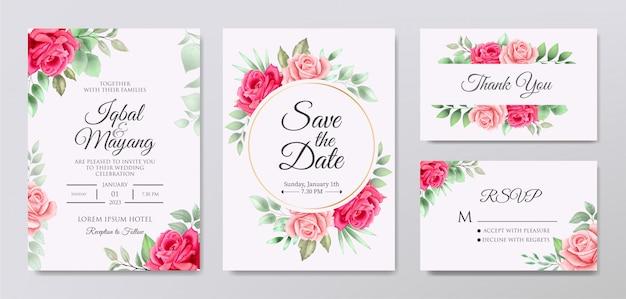 Красивое свадебное приглашение с цветочными листьями Premium векторы