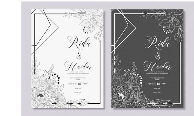 手描きの花の結婚式の招待状のデザイン Premiumベクター