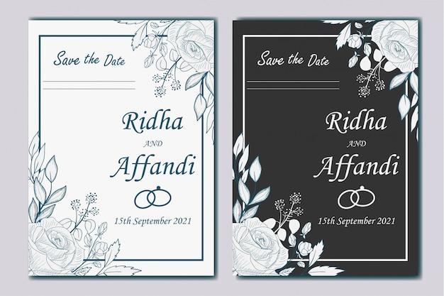 手描きの植物の結婚式の招待状 Premiumベクター