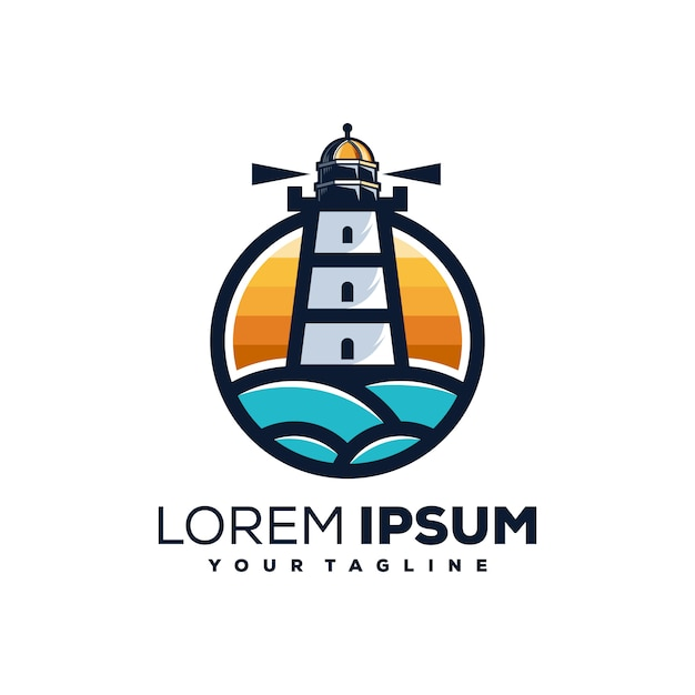 Маяк логотип Premium векторы