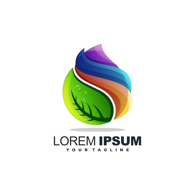 素晴らしいドロップウォーターのロゴデザインベクトル Premiumベクター