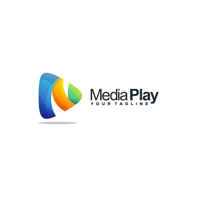 メディアプレイのロゴ Premiumベクター