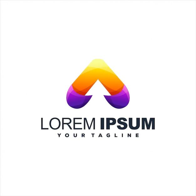 Удивительный дизайн логотипа градиента треугольника Premium векторы
