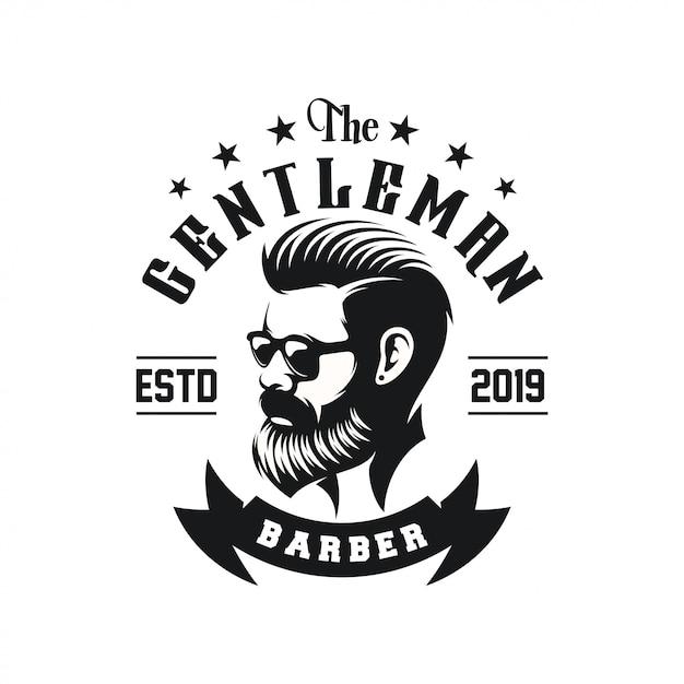 Потрясающий дизайн логотипа для бородатого мужчины Premium векторы