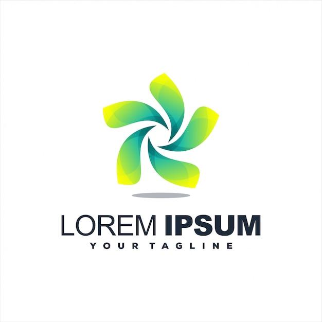 Удивительный дизайн логотипа с градиентом листьев Premium векторы