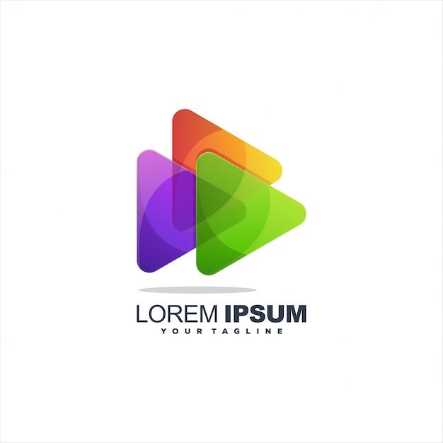 メディアのロゴを再生 Premiumベクター