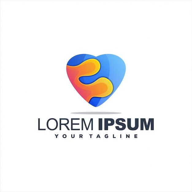 Шаблон логотипа градиента сердца Premium векторы