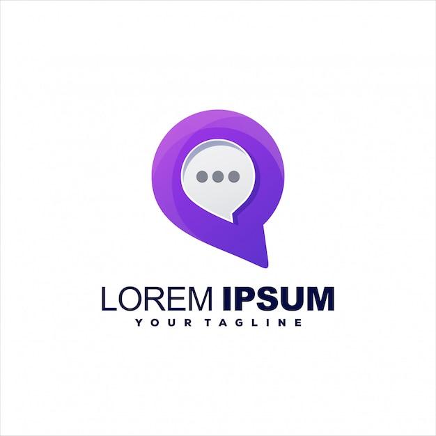 Удивительный медиа-чат дизайн логотипа Premium векторы