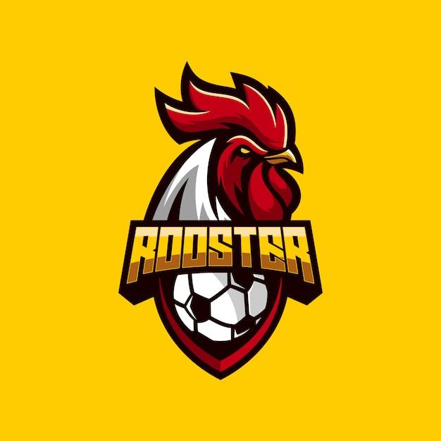 素晴らしいオンドリサッカーのロゴのベクトル Premiumベクター