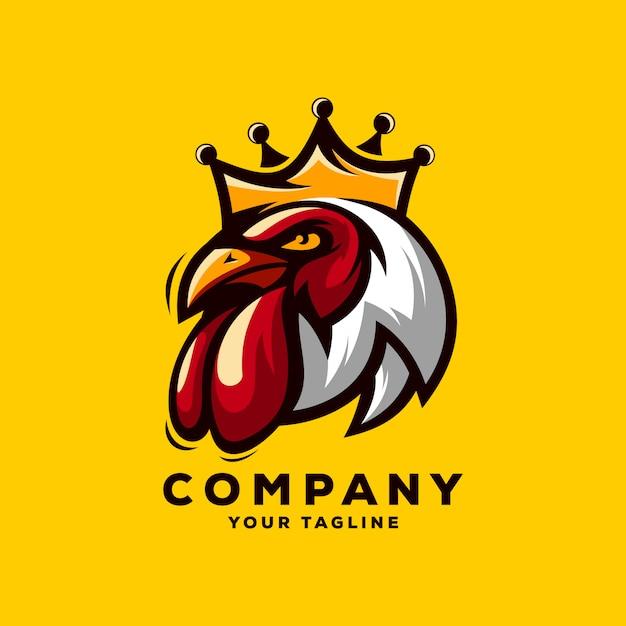 素晴らしいルースターキングのロゴのベクトル Premiumベクター