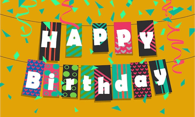 お誕生日おめでとうバナー Premiumベクター