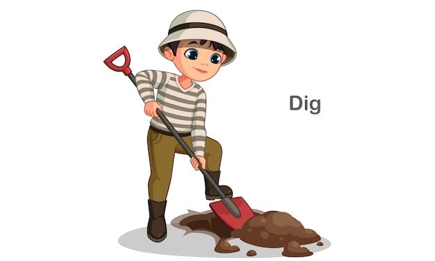Милый маленький мальчик копать яму с лопатой векторная иллюстрация Premium векторы