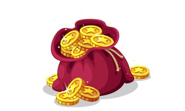 Мешок с золотыми монетами векторная иллюстрация Premium векторы