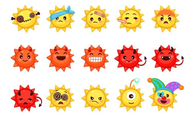かわいい太陽絵文字集 Premiumベクター