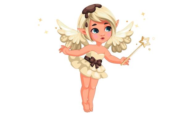 魔法の杖を保持しているかわいい小さなバニラチョコレート妖精 Premiumベクター