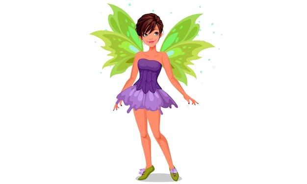 Маленькая фея с зелеными крыльями Premium векторы