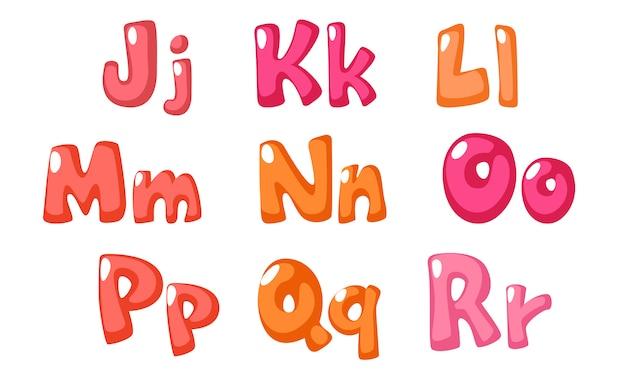 子供のためのピンク色のかわいい太字フォント Premiumベクター