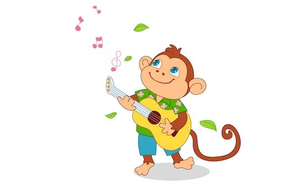 Милая обезьяна играет на гитаре Premium векторы