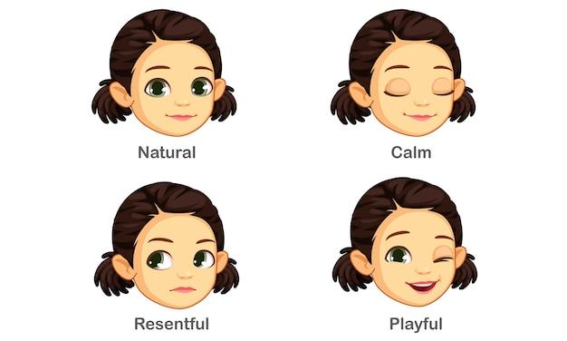 女の子の表情のセット Premiumベクター
