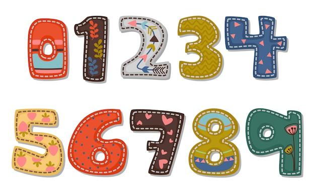 子供のための太字フォント番号の美しい印刷 Premiumベクター
