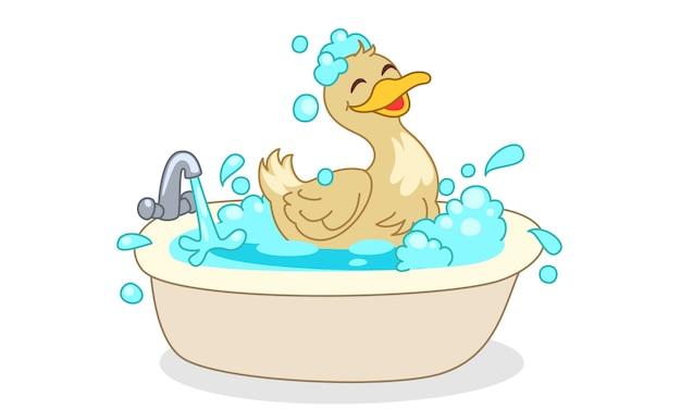 お風呂漫画ベクトル図を持つアヒル Premiumベクター