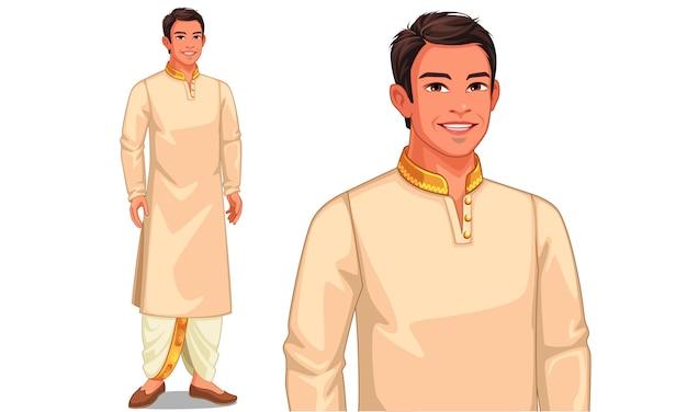Иллюстрация характера индийского человека с традиционным нарядом Premium векторы