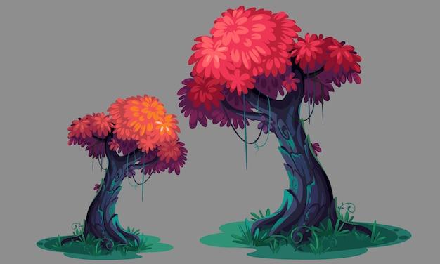 美しいピンクの葉の木のコンセプトアート Premiumベクター