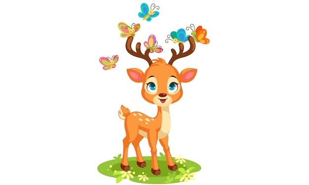 かわいい赤ちゃん鹿と蝶ベクトルイラスト 無料ベクター