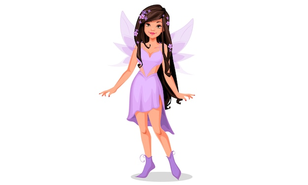 紫色のドレスで美しい妖精 Premiumベクター