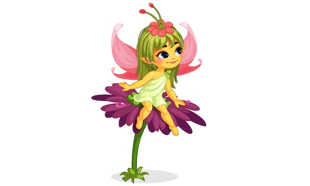 Красивая маленькая цветочная фея сидит на цветке Premium векторы