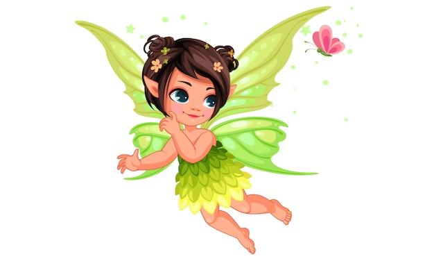 Красивая маленькая фея природы | Премиум векторы