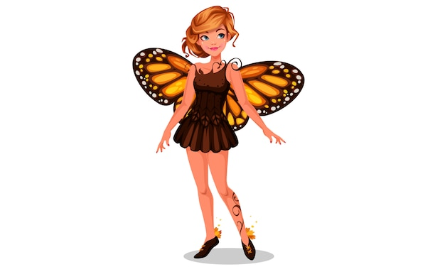美しいオオカバマダラ蝶の妖精 Premiumベクター