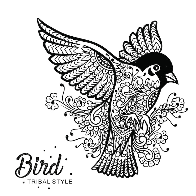 Птица голова племенной стиль рисованной Premium векторы