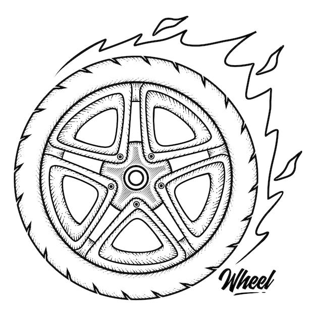 Винтажное колесо Premium векторы