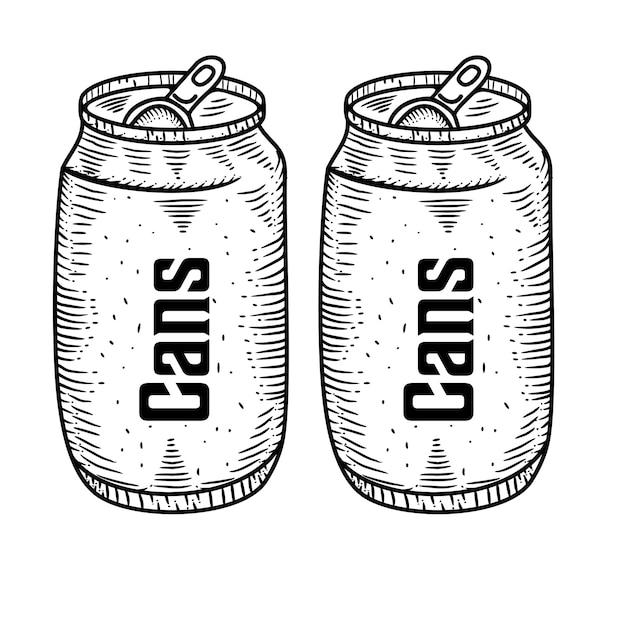 缶手描き Premiumベクター